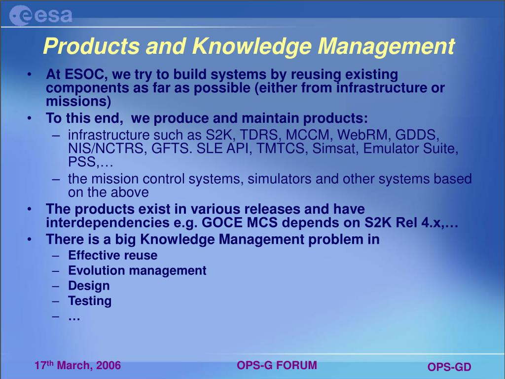 Products and Knowledge Management