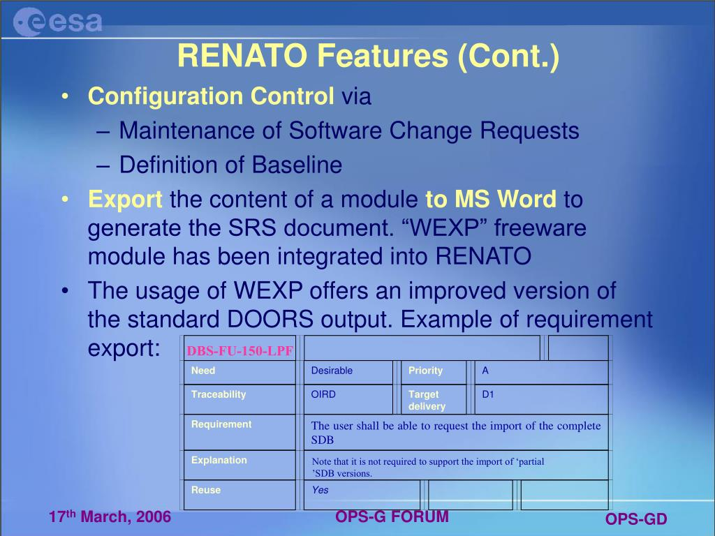 RENATO Features (Cont.)