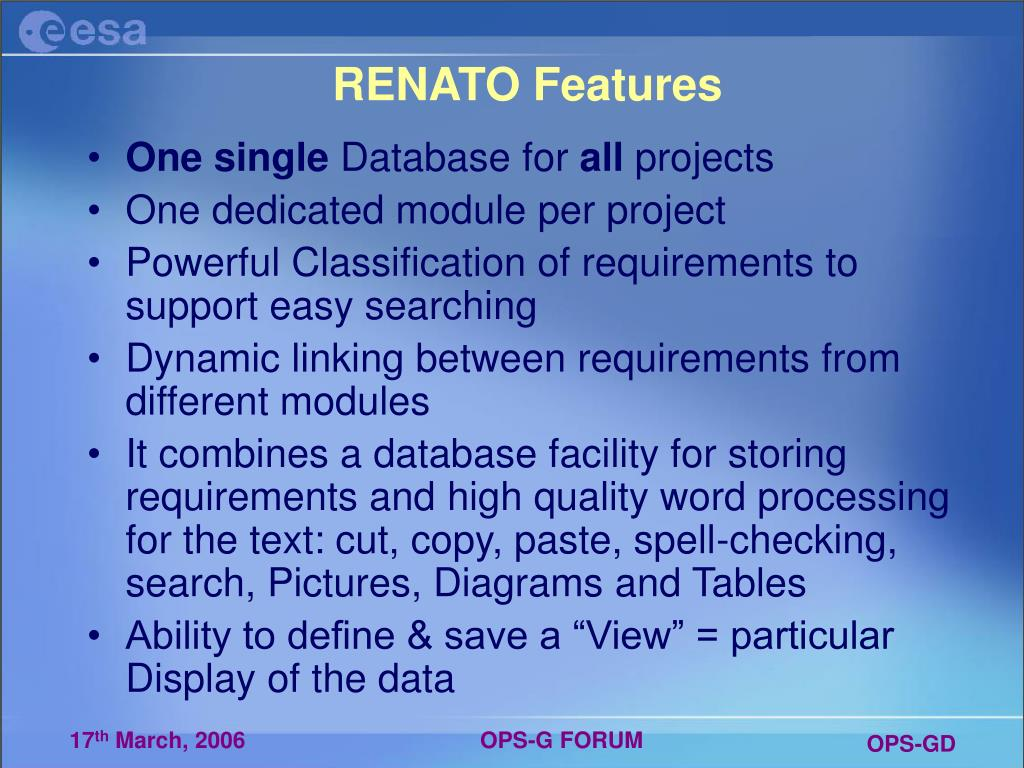 RENATO Features