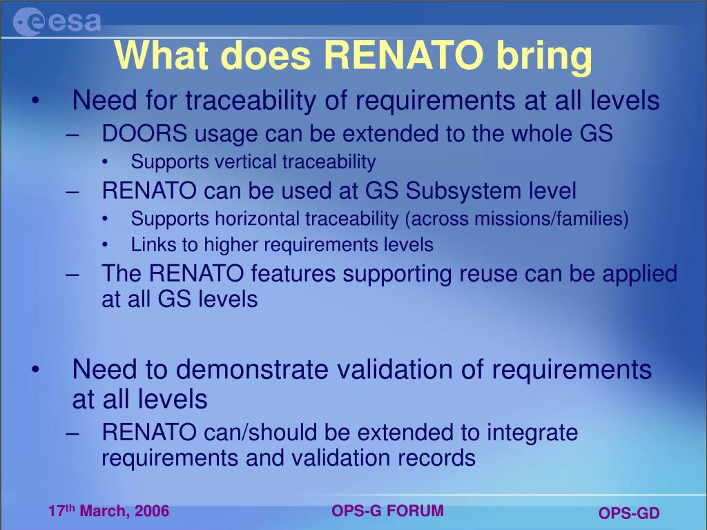What does RENATO bring