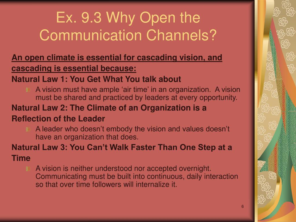 Ex. 9.3 Why Open the Communication Channels?