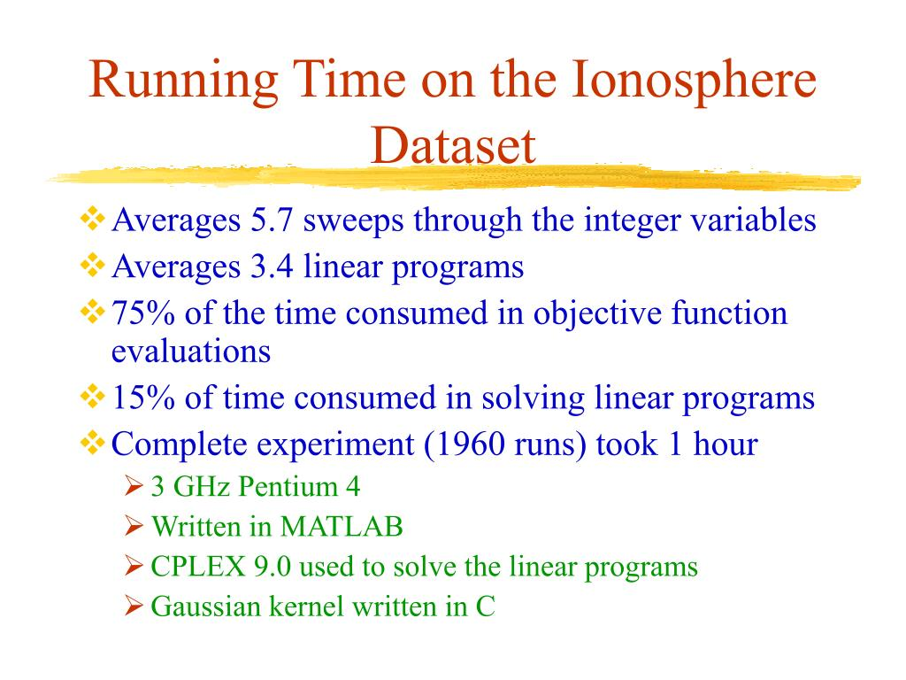 Running Time on the Ionosphere Dataset
