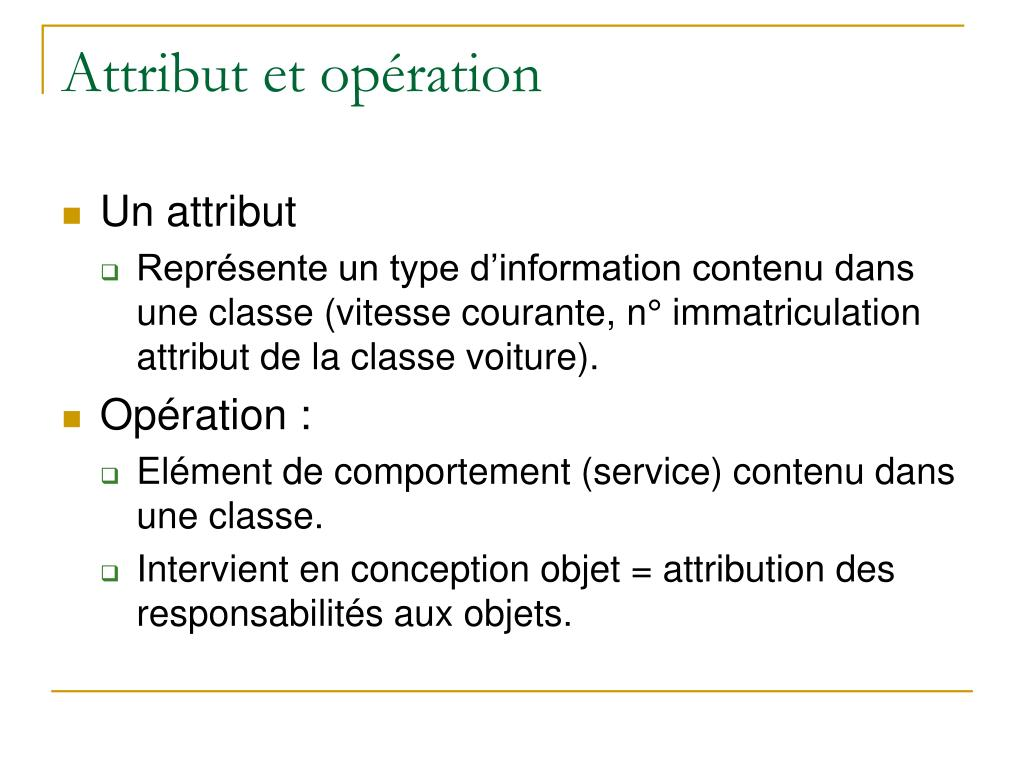 Attribut et opération