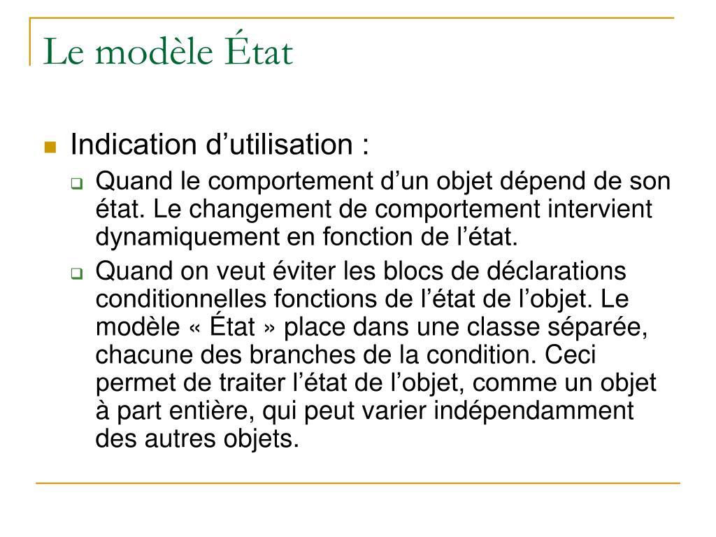 Le modèle État