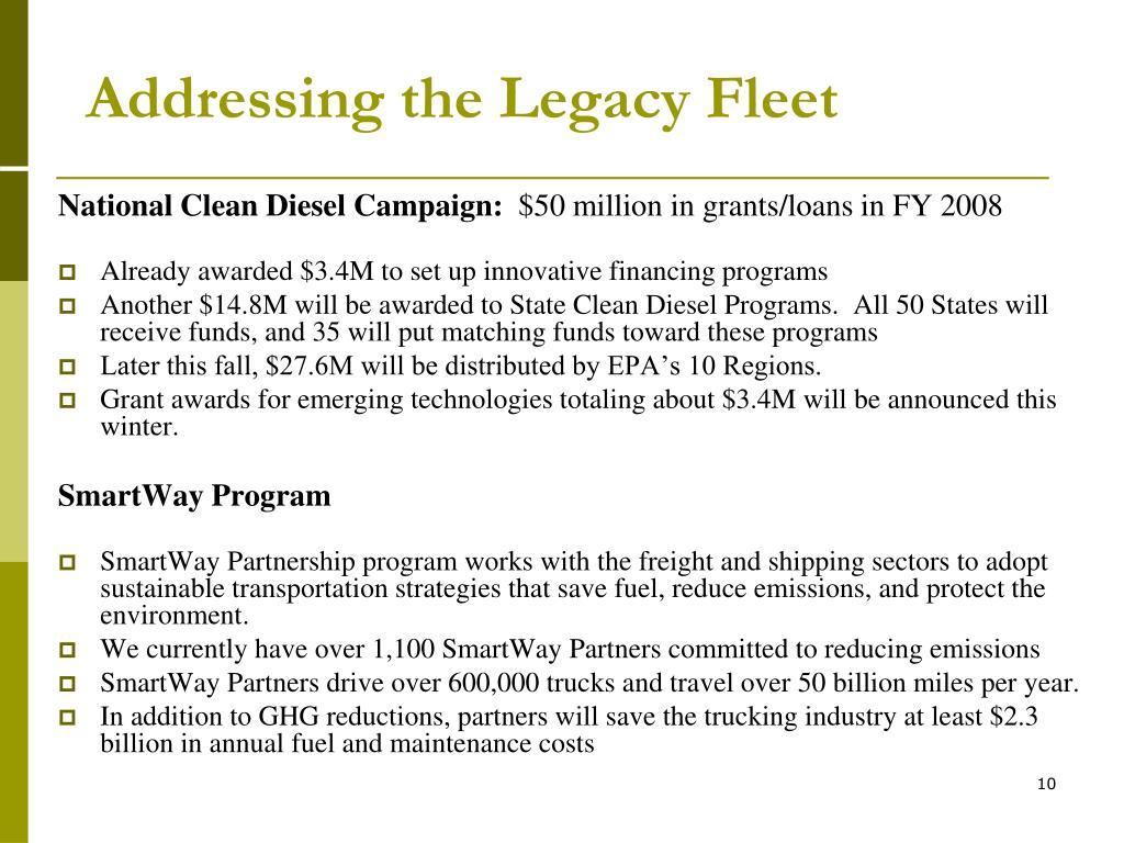 Addressing the Legacy Fleet