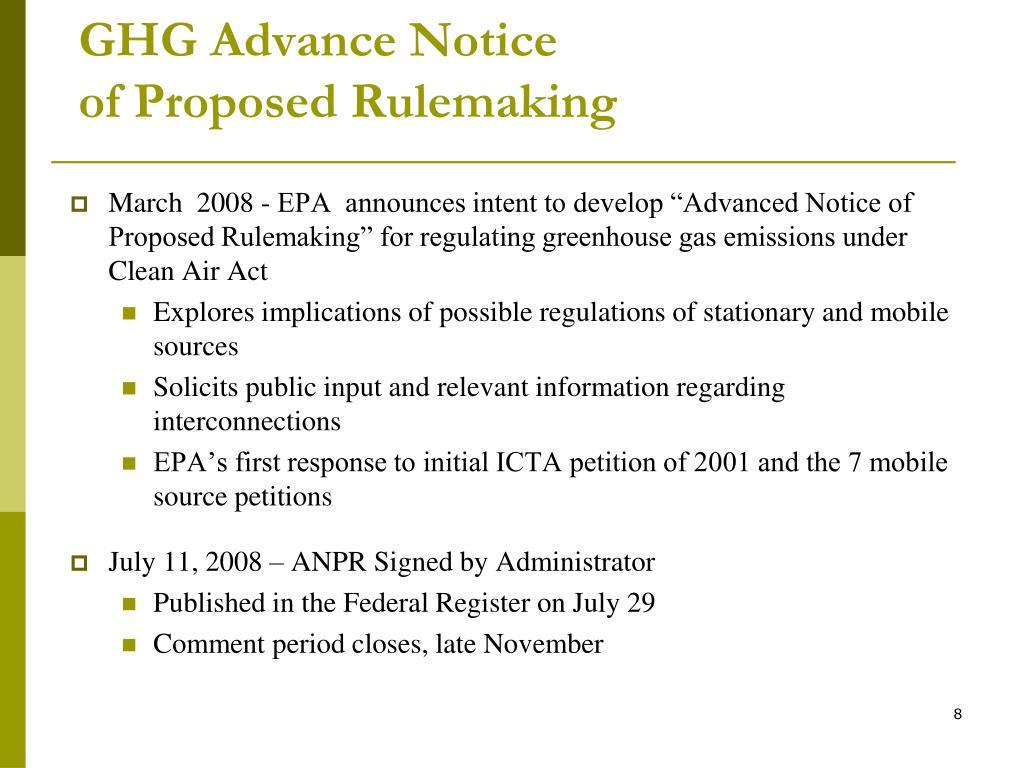 GHG Advance Notice
