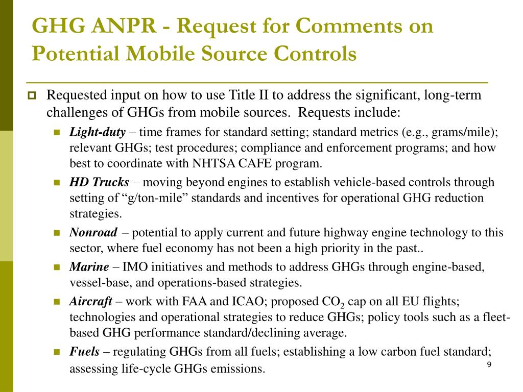 GHG ANPR - Request for Comments on Potential Mobile Source Controls