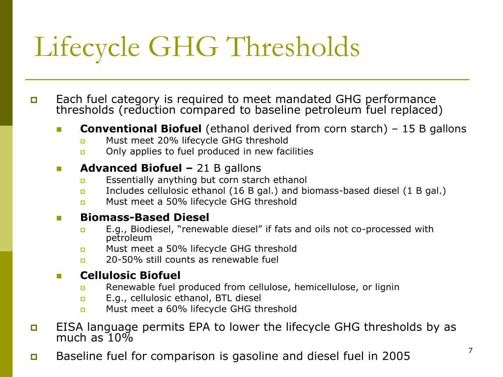 Lifecycle GHG Thresholds