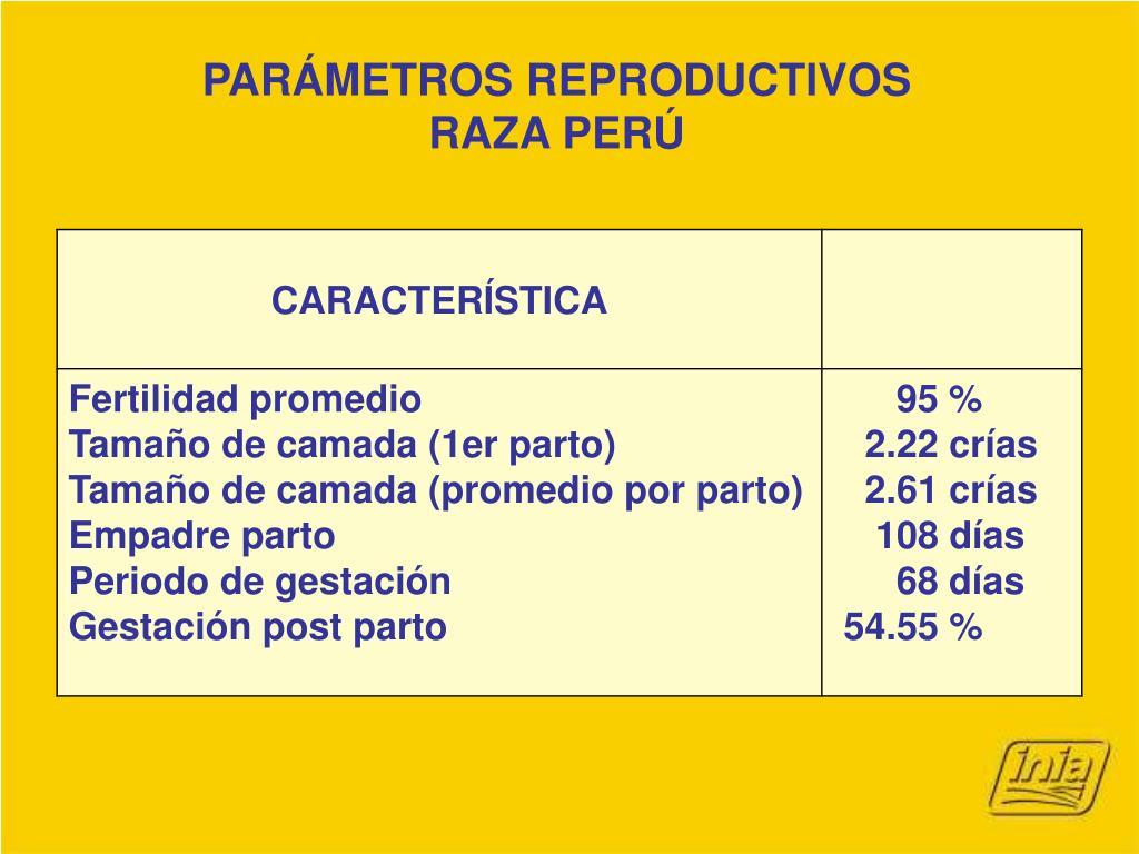 PARÁMETROS REPRODUCTIVOS