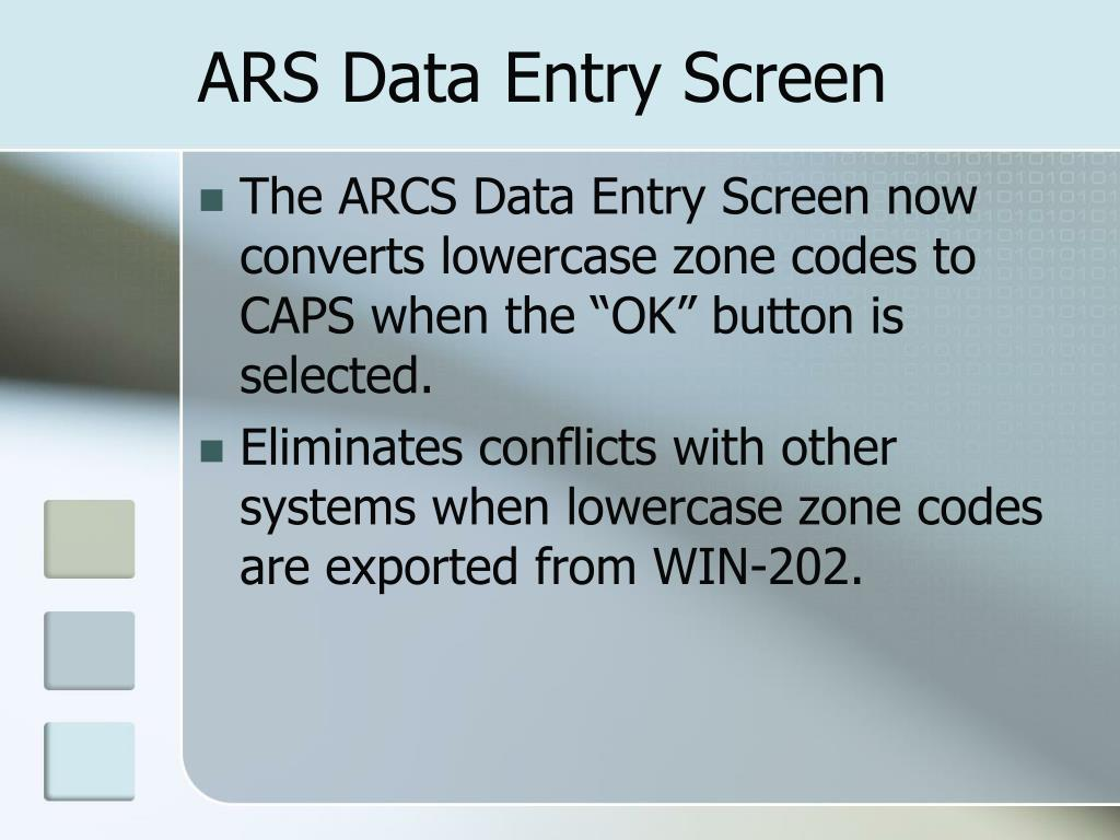 ARS Data Entry Screen