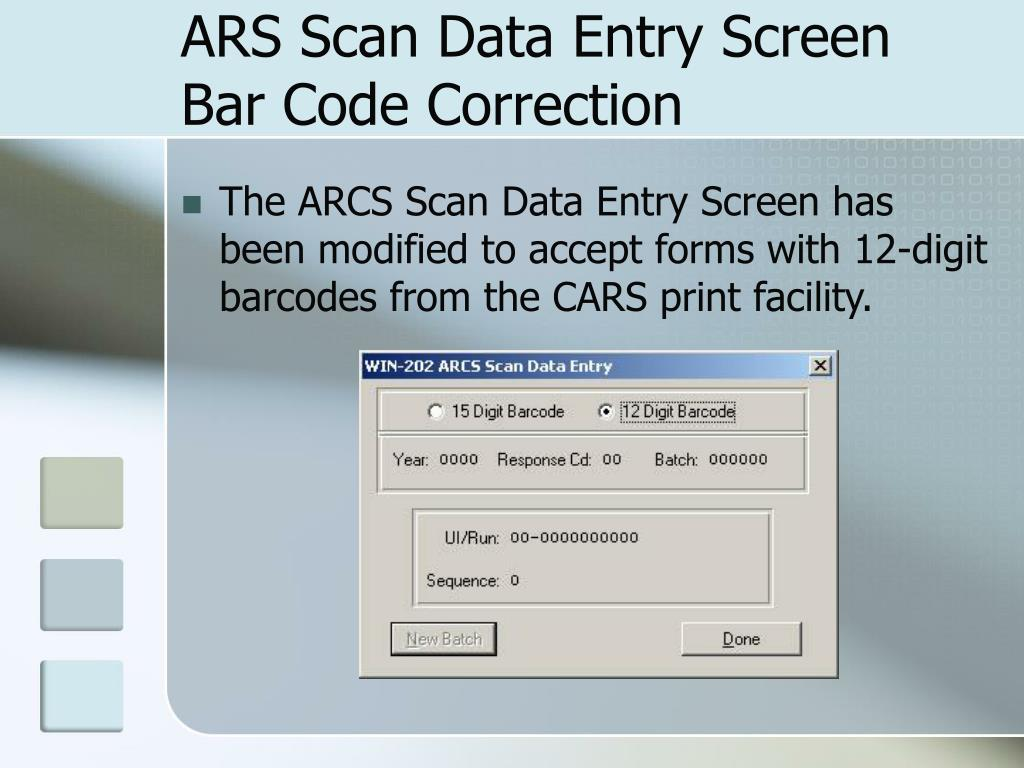 ARS Scan Data Entry Screen Bar Code Correction