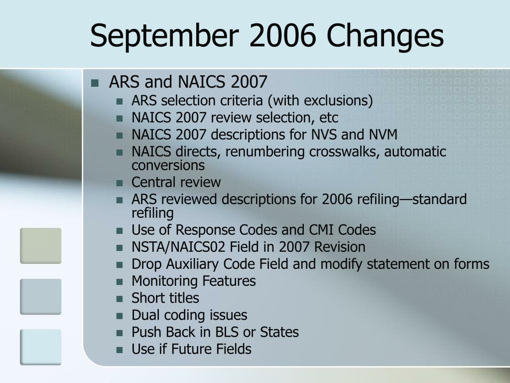 September 2006 Changes