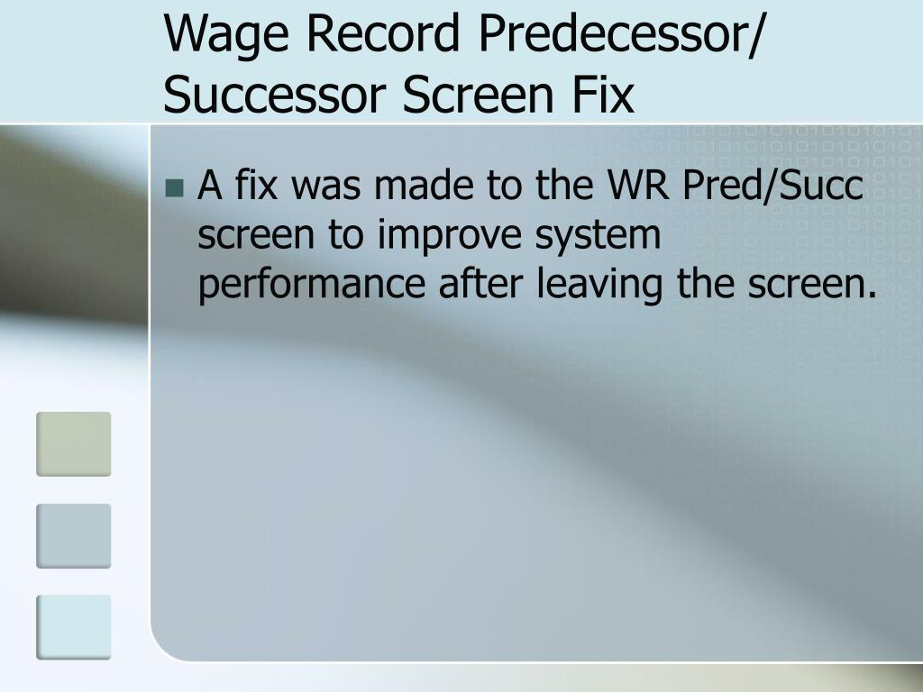 Wage Record Predecessor/ Successor Screen Fix