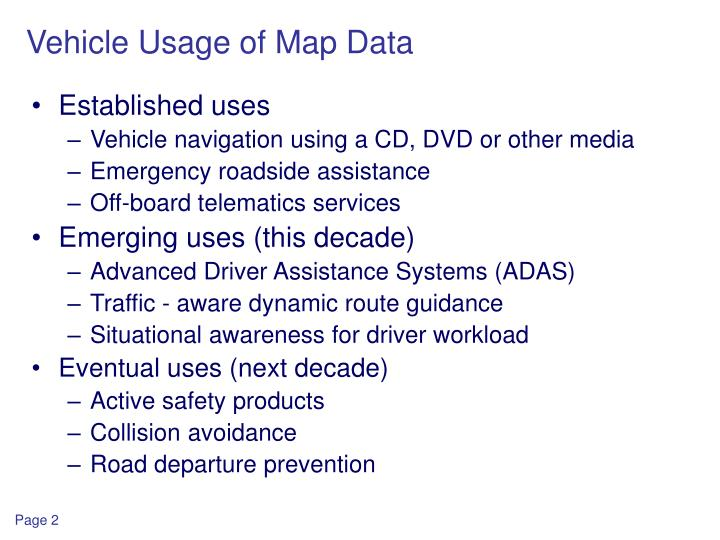 Vehicle usage of map data