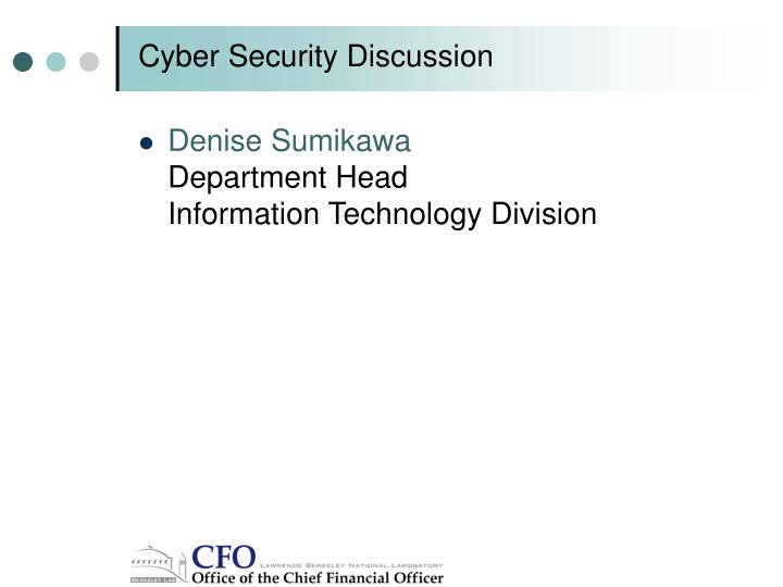 Cyber security discussion