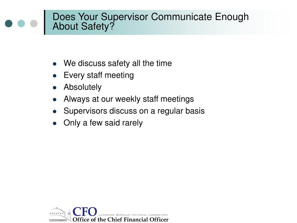 Does Your Supervisor Communicate Enough About Safety?