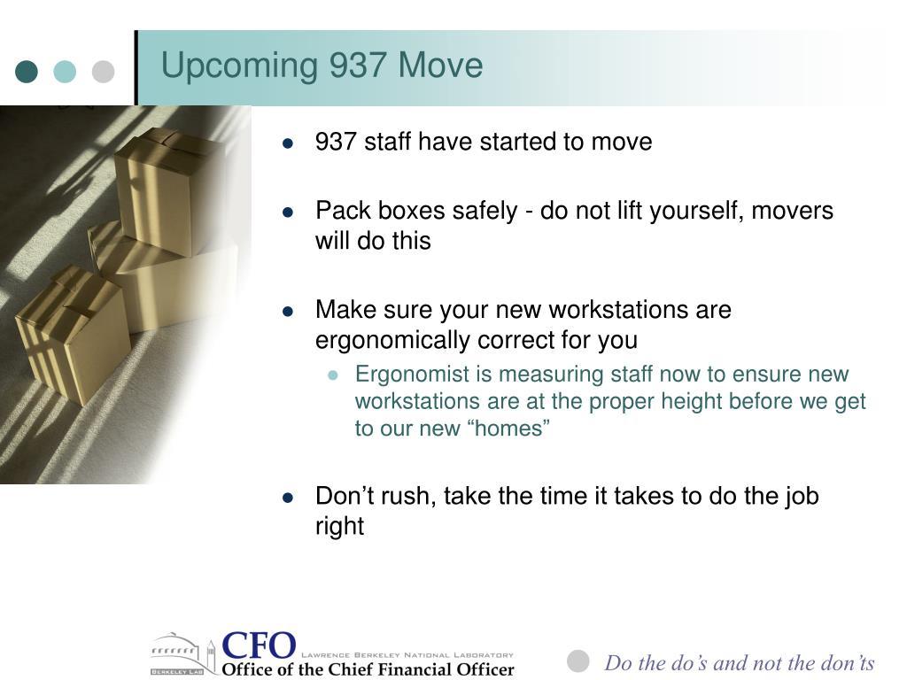 Upcoming 937 Move
