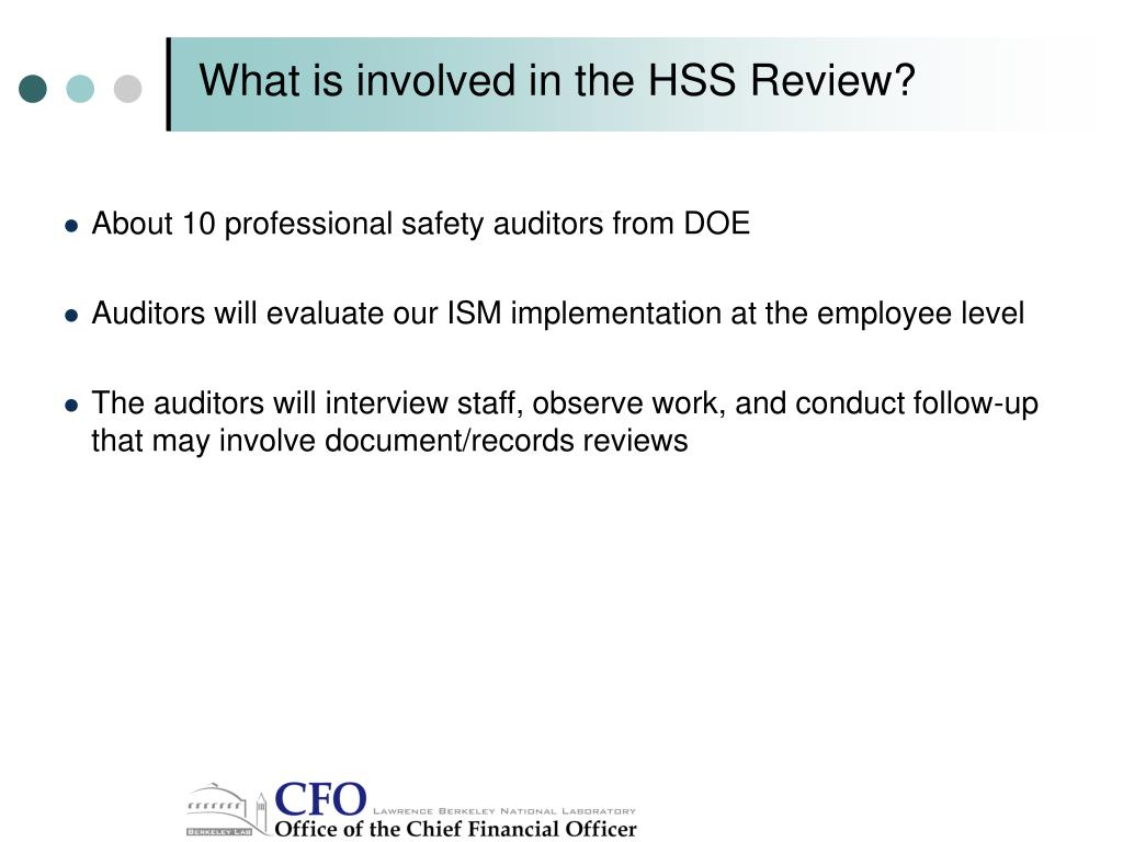 What is involved in the HSS Review?
