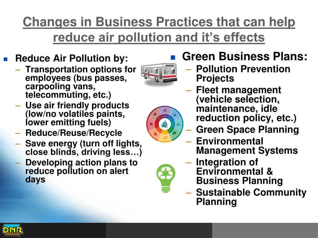 Changes in Business Practices that can help reduce air pollution and it's effects