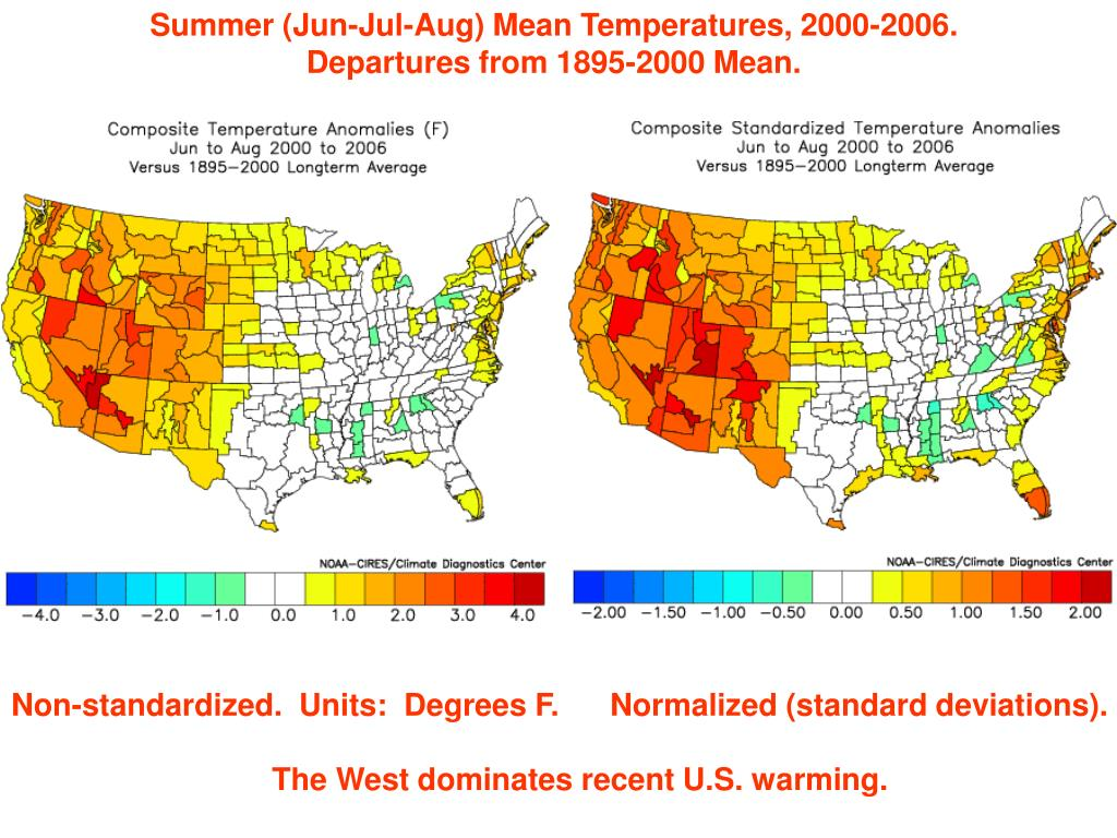 Summer (Jun-Jul-Aug) Mean Temperatures, 2000-2006.