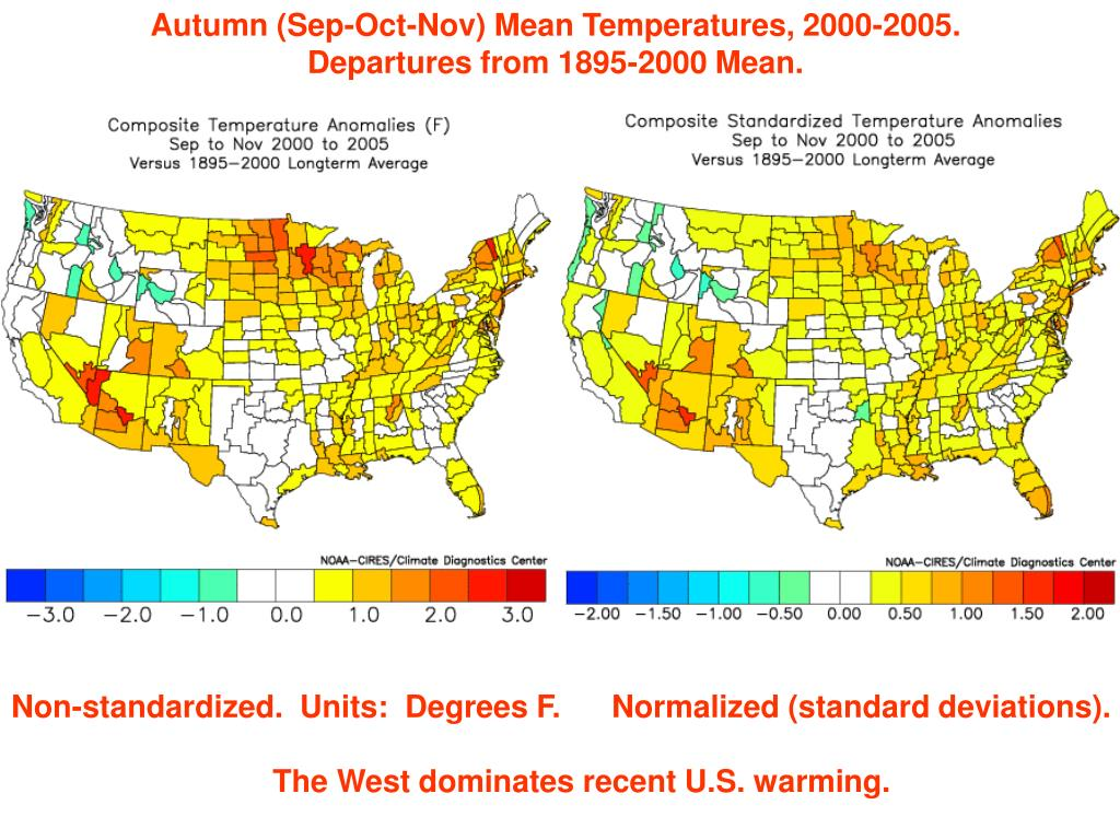 Autumn (Sep-Oct-Nov) Mean Temperatures, 2000-2005.