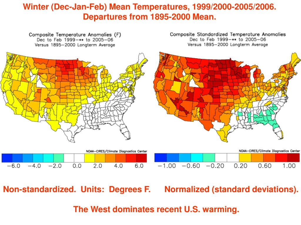 Winter (Dec-Jan-Feb) Mean Temperatures, 1999/2000-2005/2006.