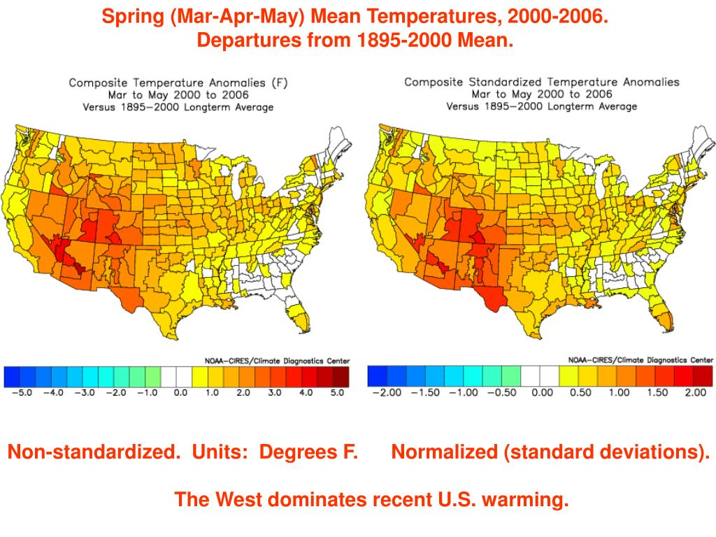 Spring (Mar-Apr-May) Mean Temperatures, 2000-2006.