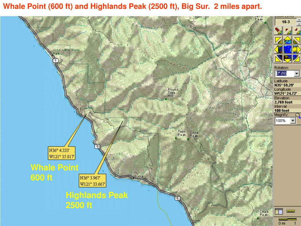 Whale Point (600 ft) and Highlands Peak (2500 ft), Big Sur.  2 miles apart.