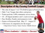 description of the passing football league