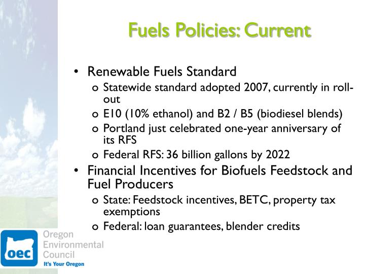 Fuels policies current