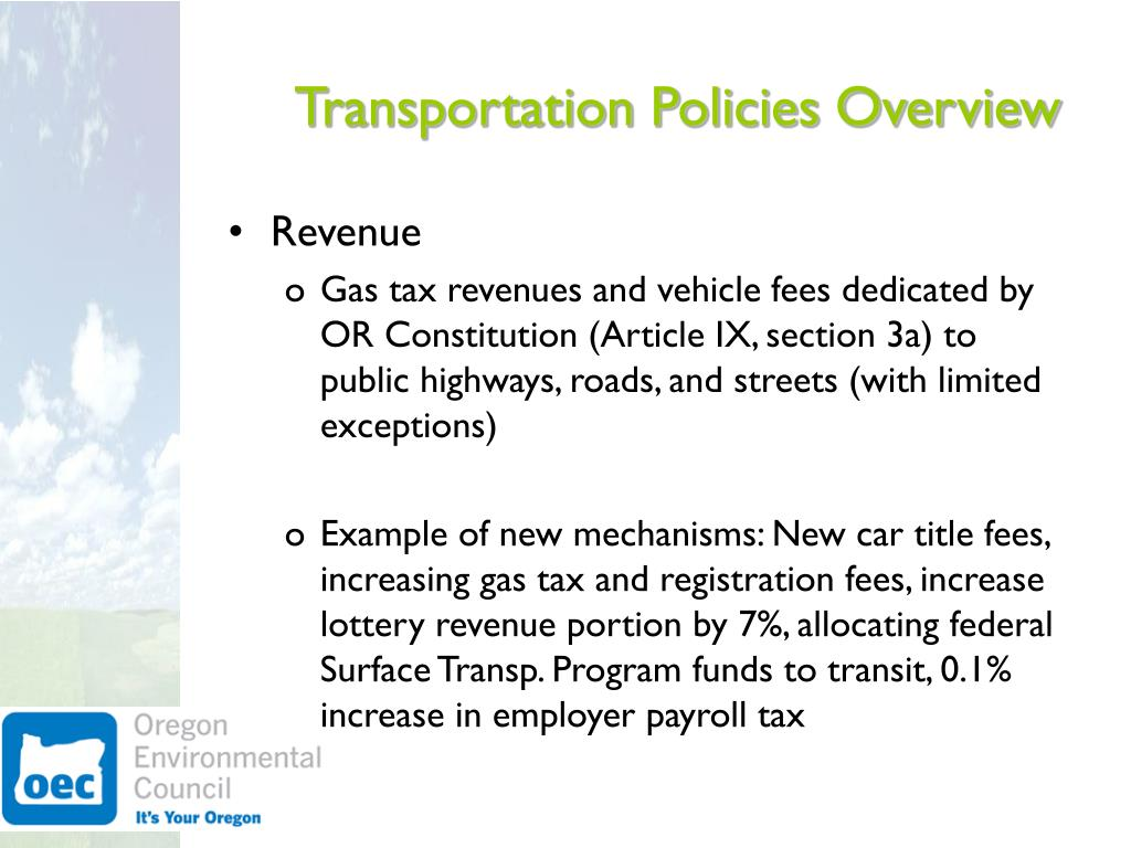 Transportation Policies Overview