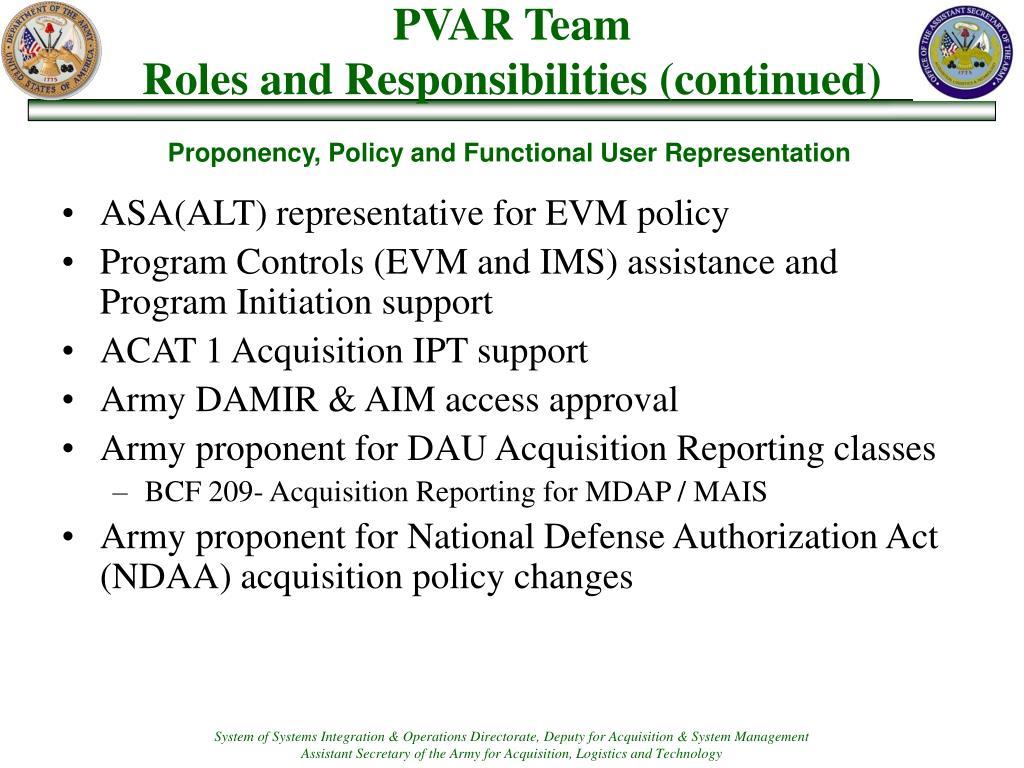 ASA(ALT) representative for EVM policy