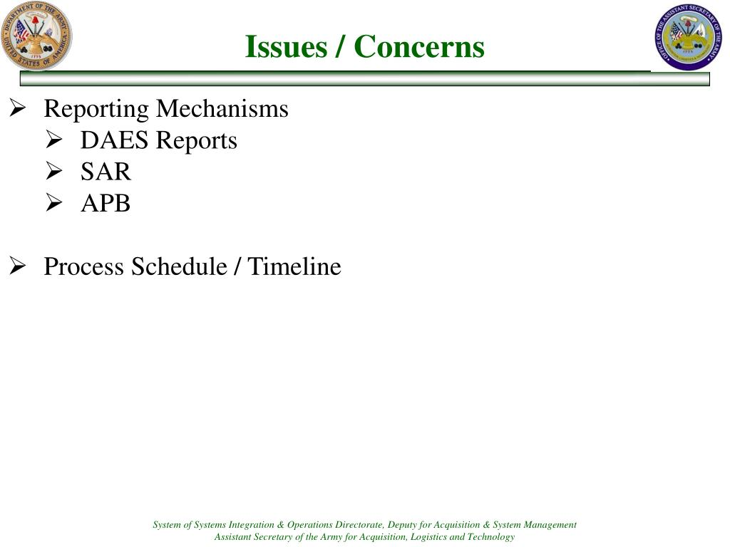 Issues / Concerns