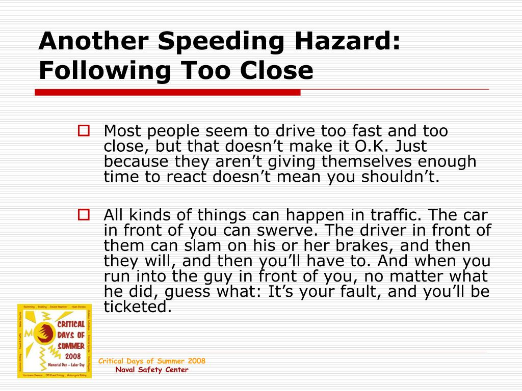 Another Speeding Hazard: Following Too Close
