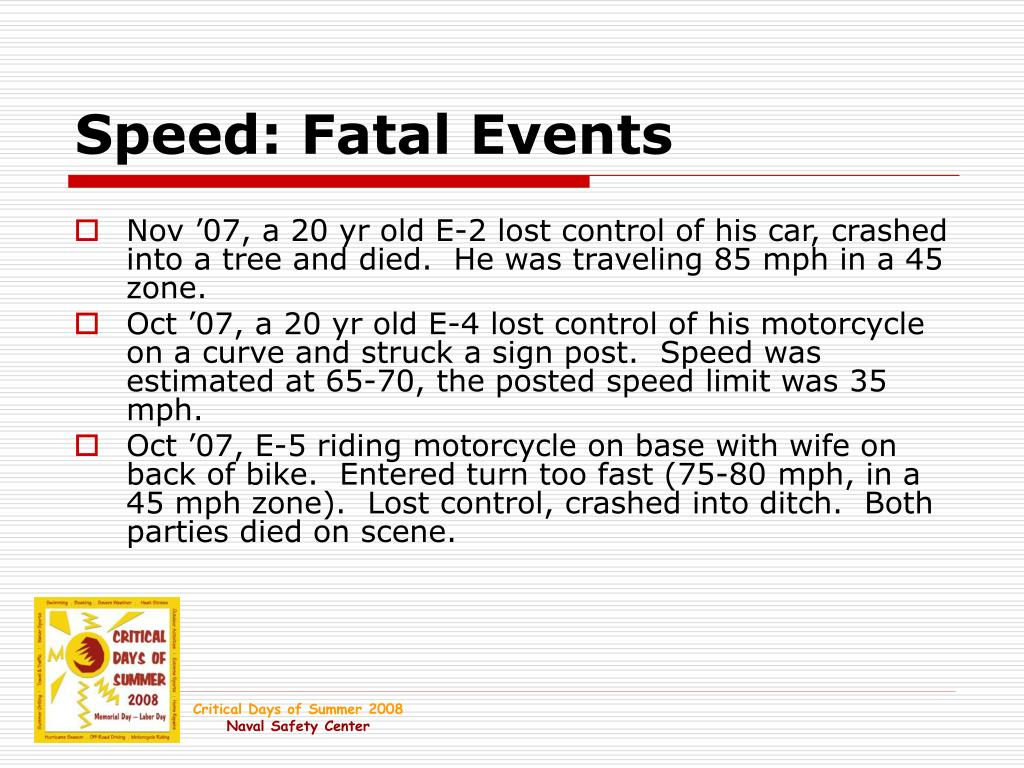 Speed: Fatal Events
