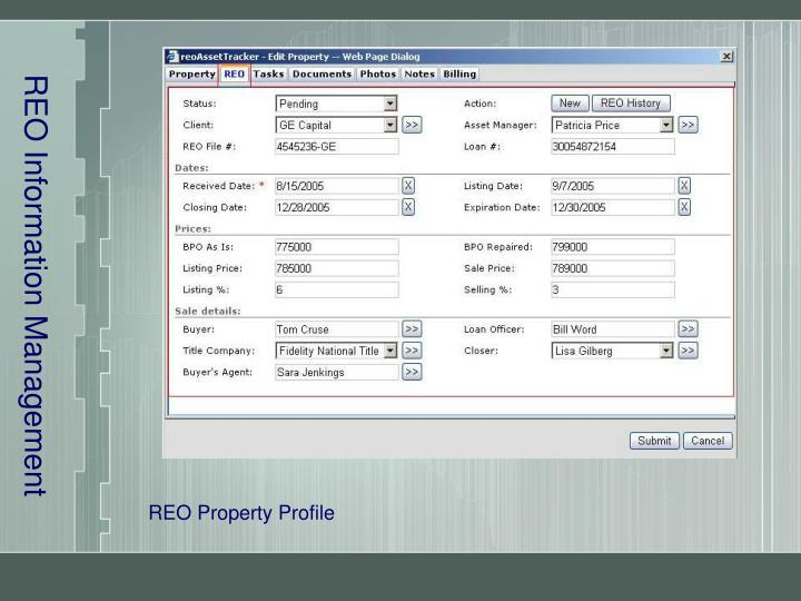 Reo information management