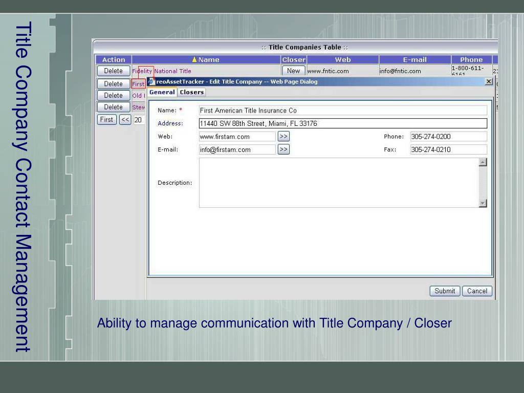 Title Company Contact Management