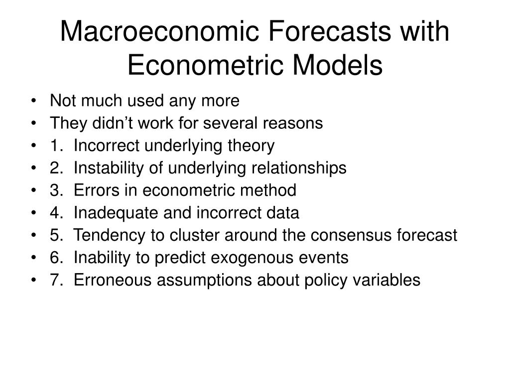 Macroeconomic Forecasts with Econometric Models
