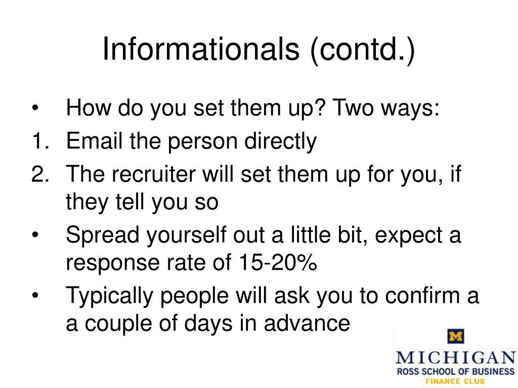 Informationals (contd.)