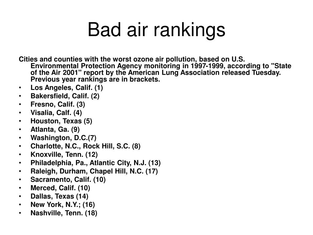 Bad air rankings