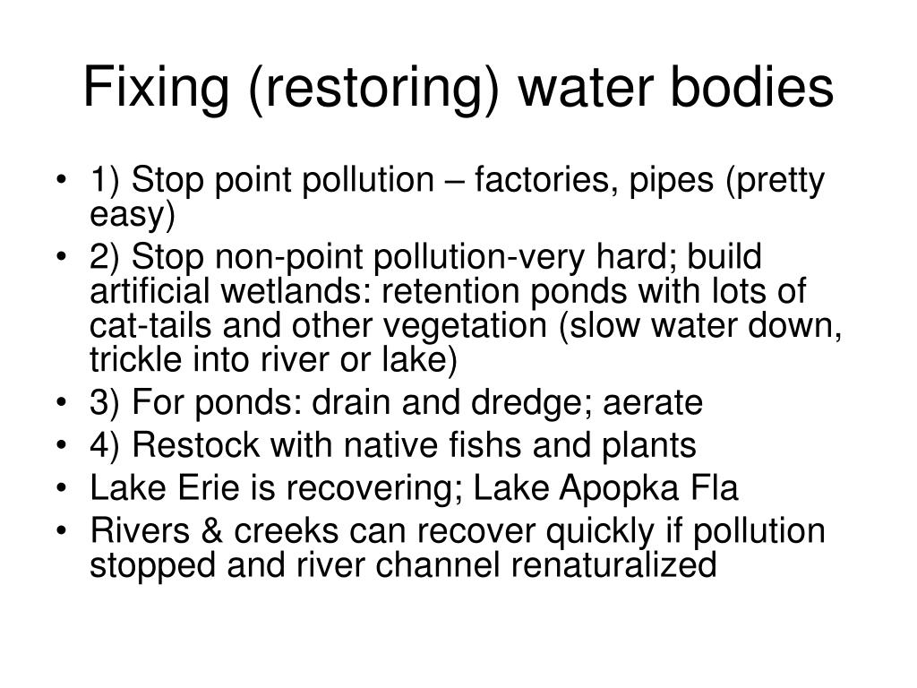 Fixing (restoring) water bodies