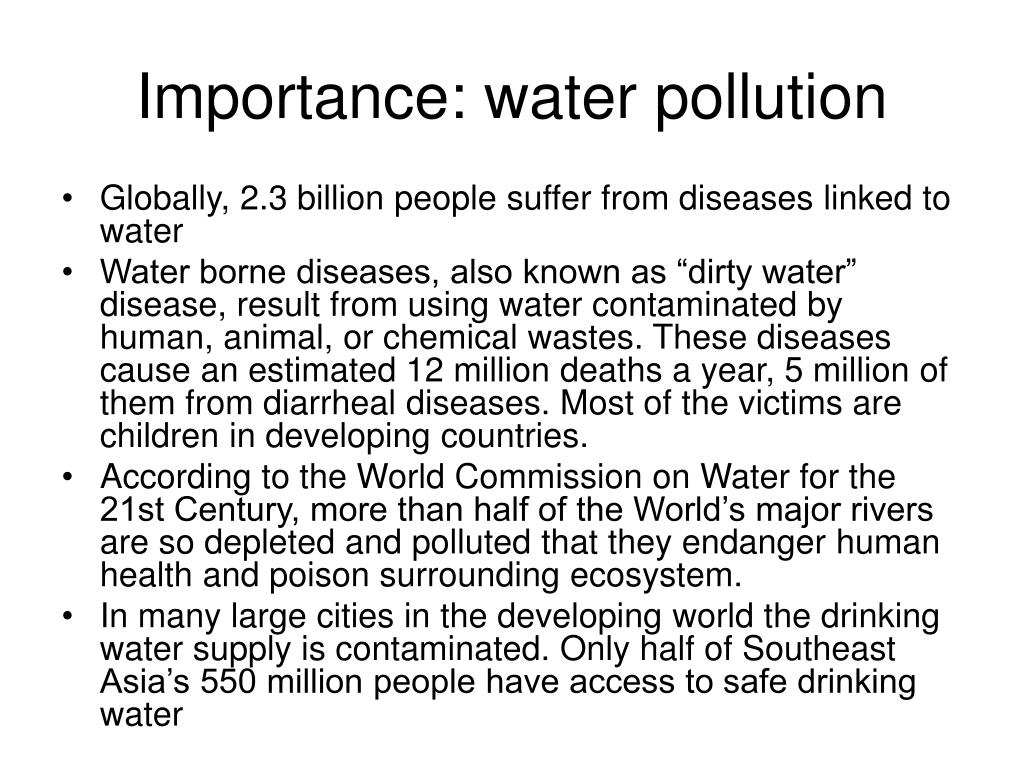 Importance: water pollution