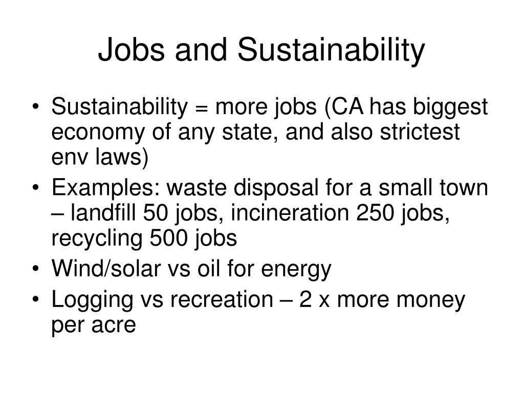 Jobs and Sustainability