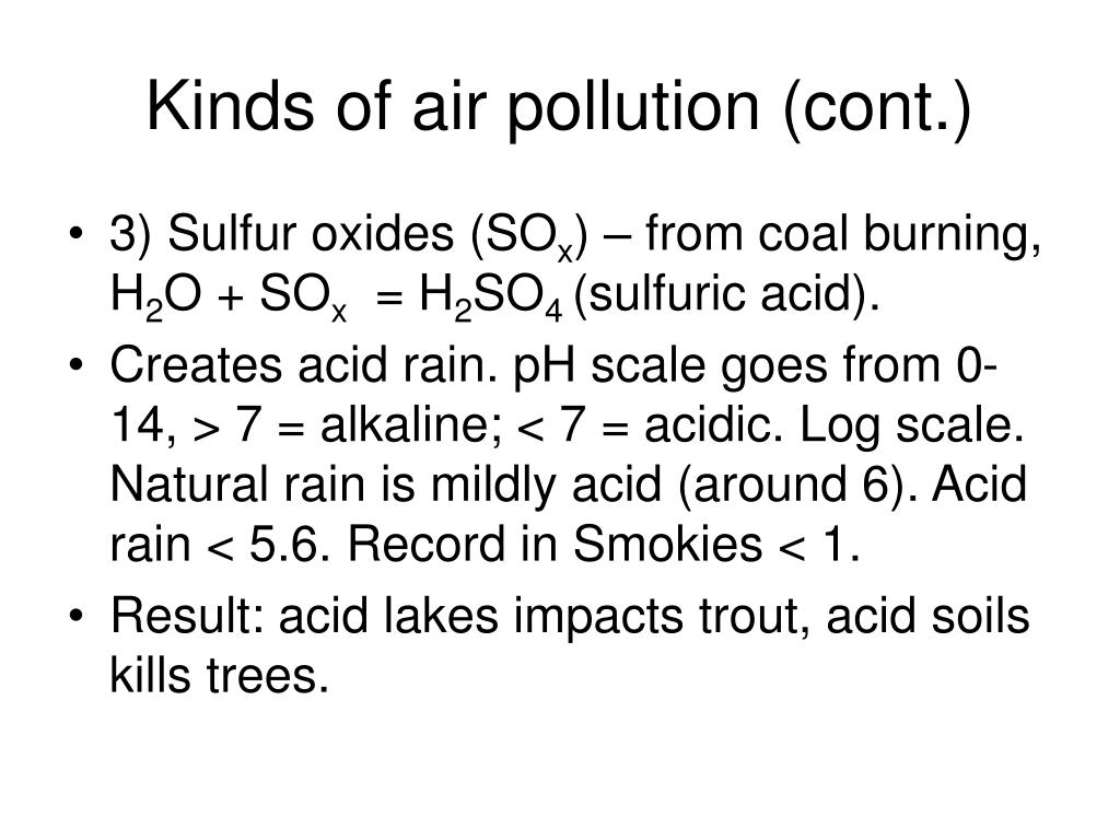 Kinds of air pollution (cont.)