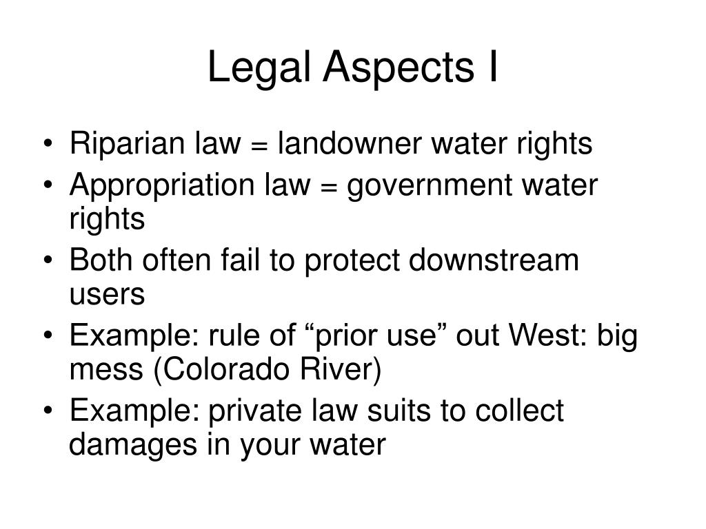 Legal Aspects I
