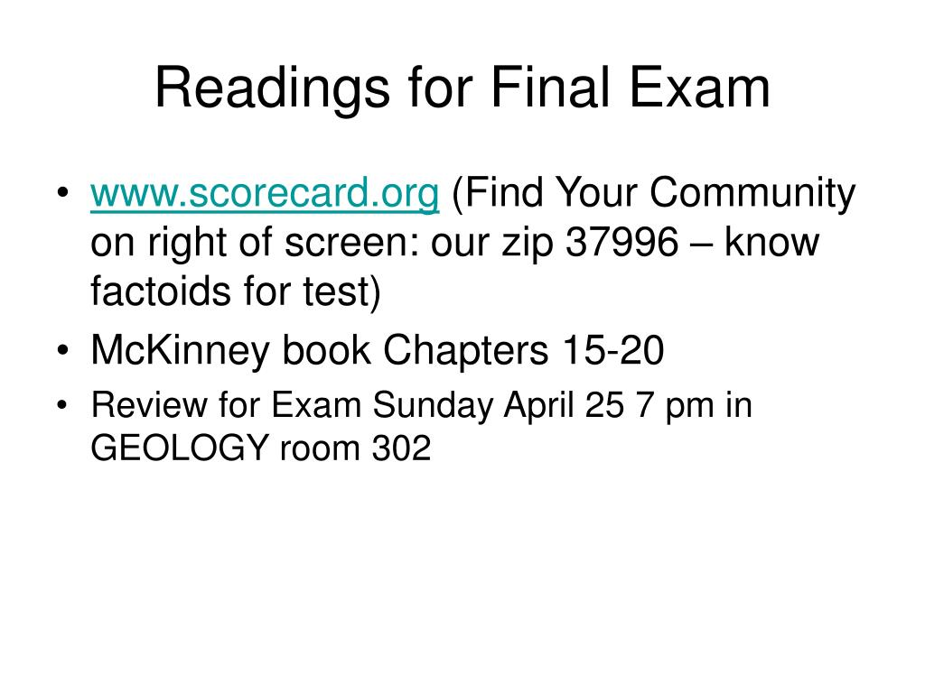 Readings for Final Exam