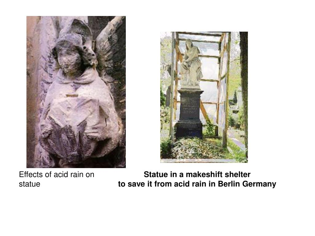 Effects of acid rain on statue