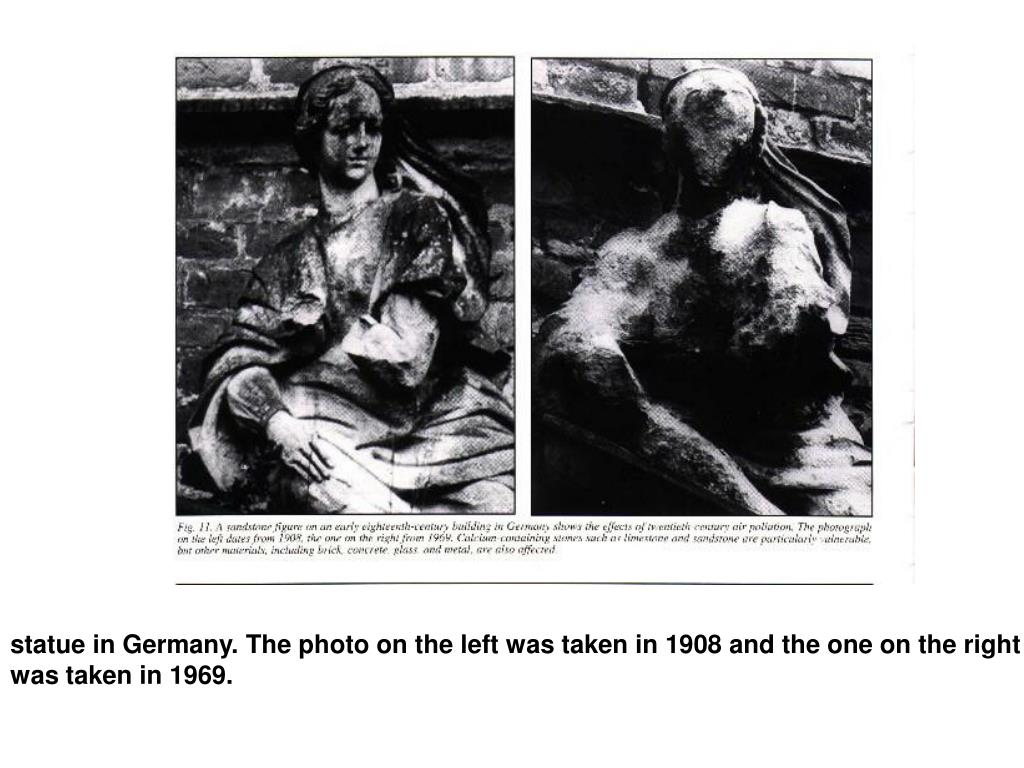 statue in Germany. The photo on the left was taken in 1908 and the one on the right was taken in 1969.