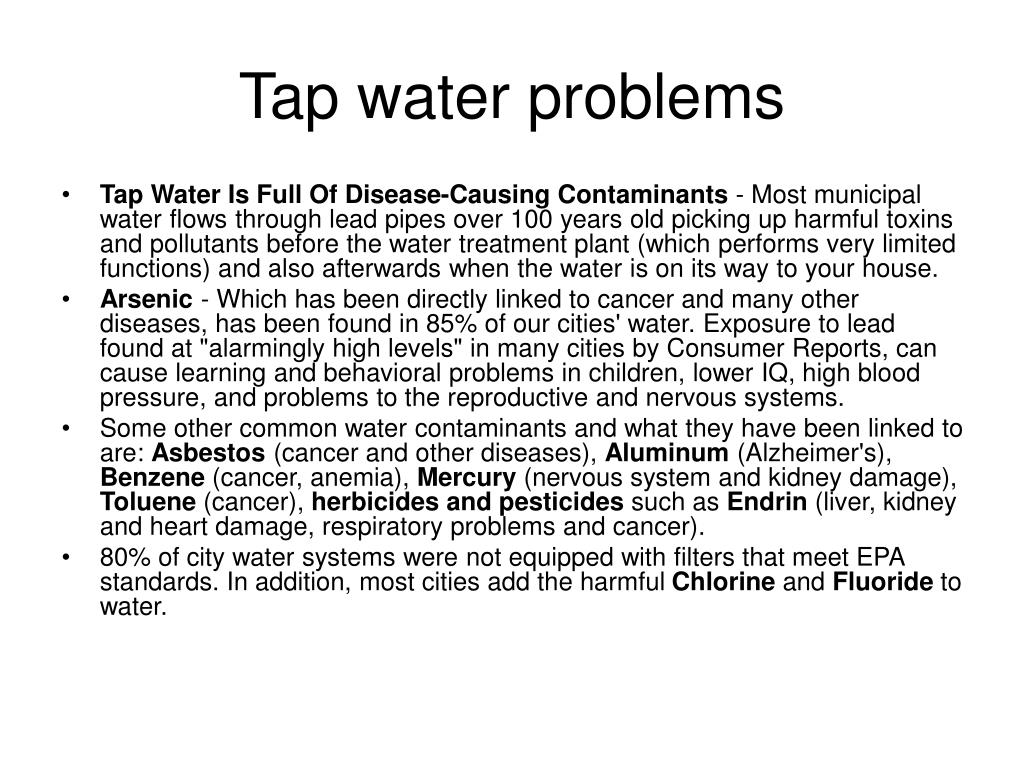 Tap water problems