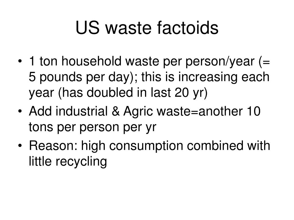 US waste factoids